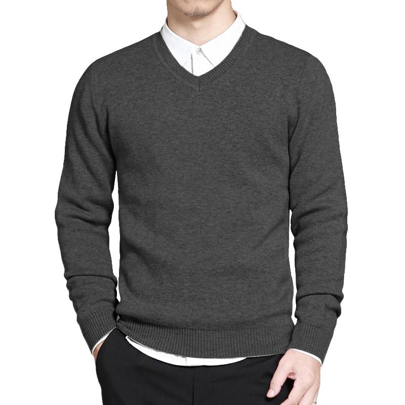 Тонкий свитер Pollovers мужские повседневные хлопковые свитера джемпер пуловер делового стиля, с v-образным вырезом, трикотажная одежда для дет...