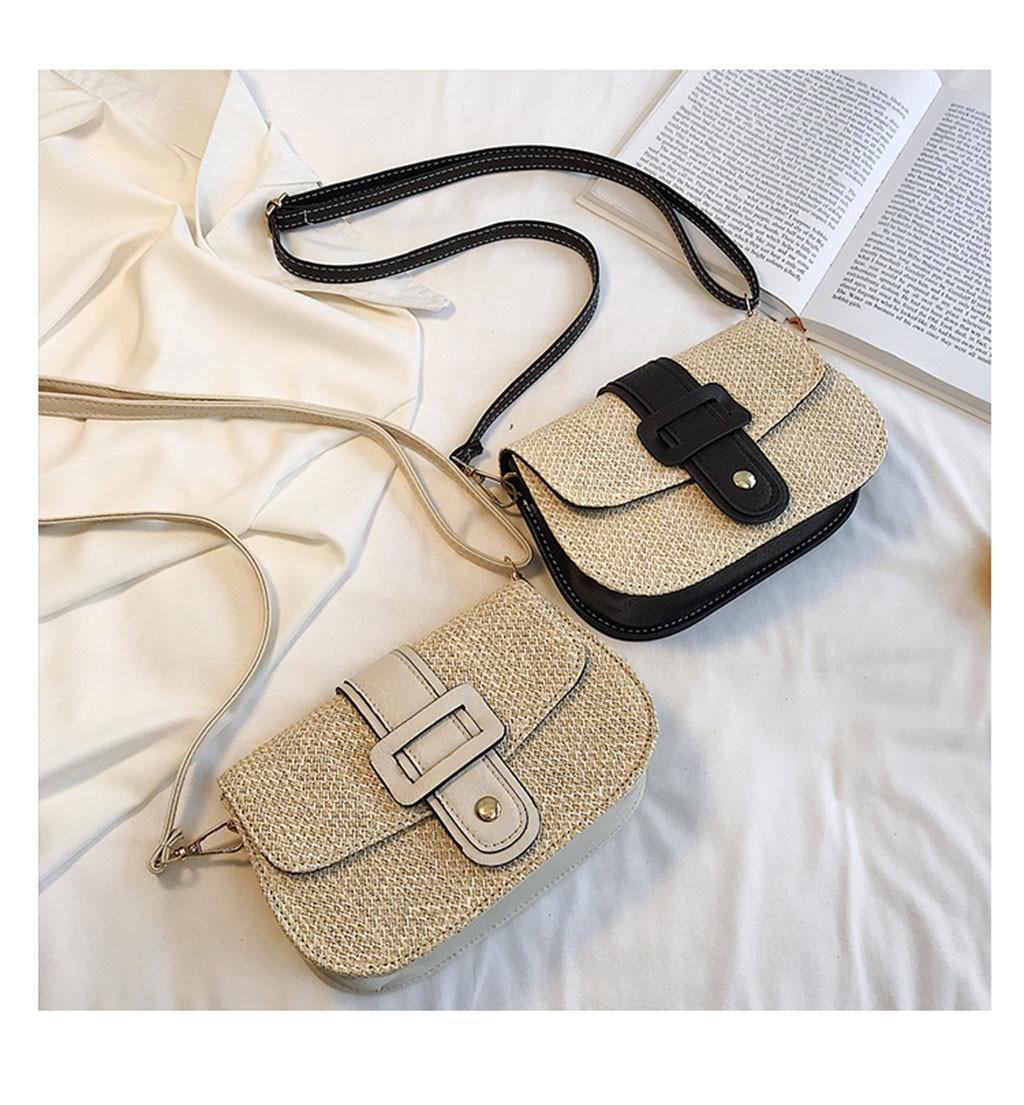 Bolso de Color playero para mujer, bolso cuadrado de arpillera, bolso de paja, bolso femenino #10