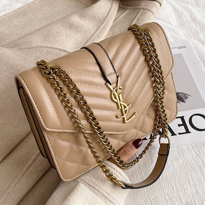 Branded Women's Shoulder Bags 2021 Thick Chain Quilted Shoulder Purses And Handbag Women Clutch Bags