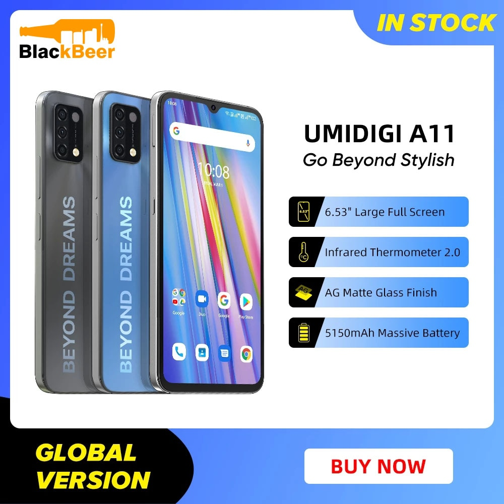 UMIDIGI A11 6.53 Inch 4G Cellphone Android 11 Octa Core Smartphone 16MP Triple Camera Mobile Phone Infrared Thermometer 5150mAh