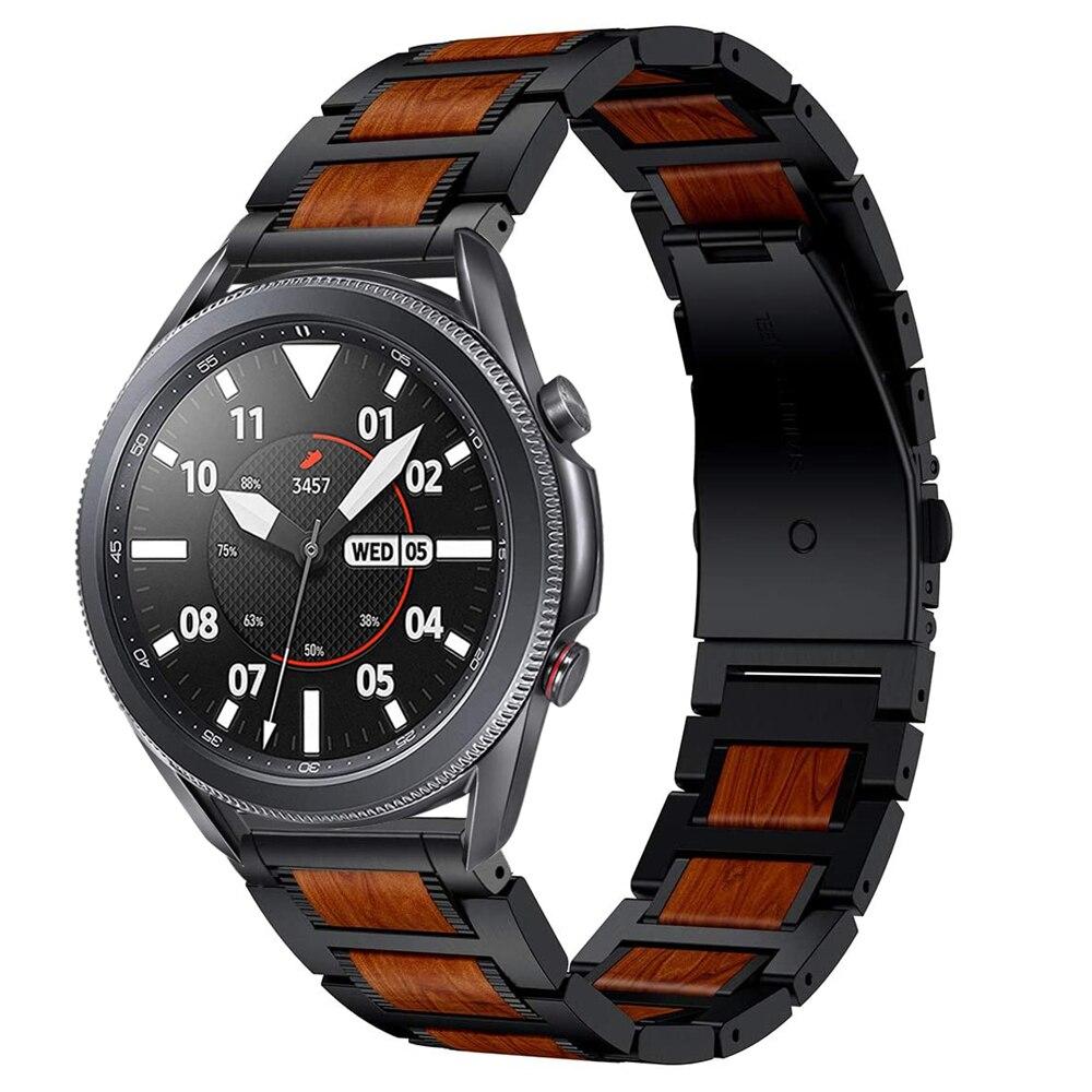 Samsung Galaxy Watch 46mm Gear S3 Huawei Watch GT2 Amazfit GTR 47 Strap Wooden Metal Strap Bracelet Accessories 22mm Strap