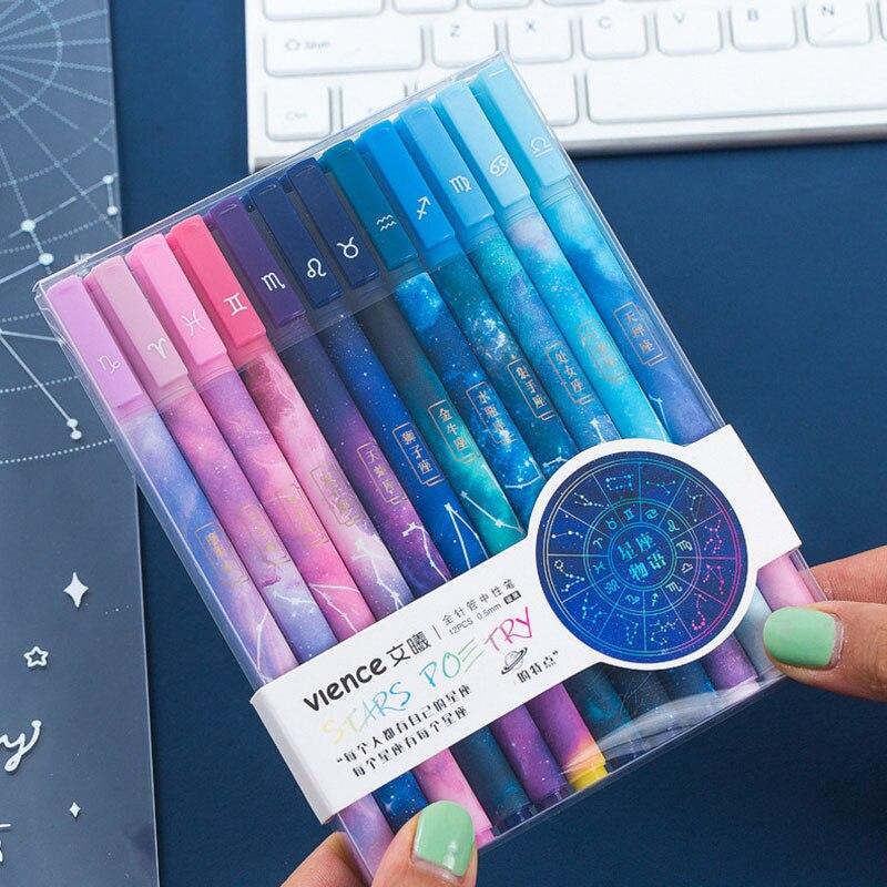 Кавайные ручки со звездами, 12 шт./компл., гелевые ручки с созвездиями, 0,5 мм, черные ручки для девочек, подарки, школьные и офисные принадлежно...