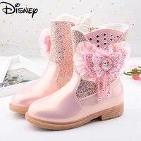 disney childrens cotton boots cartoon girls short boots frozen princess elsa winter childrens cashmere snow boots bowknot
