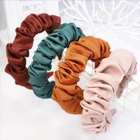 new fashion autumn hairband women individuality pleated headband fresh solid hair band adult hundred matching hair accessories