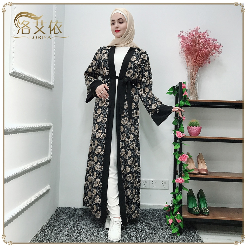 Wepbel caftán Kimono Floral de manga larga musulmán vestido con cinturón liso y Abaya elegante suelto turco Bata