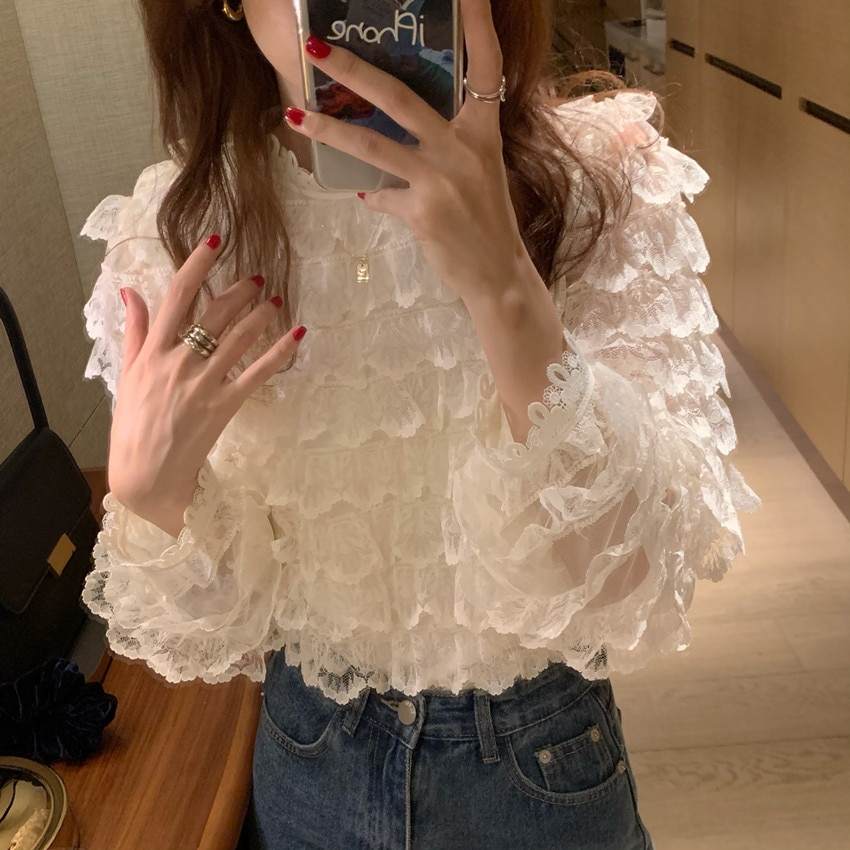 Hb34350e84ea94b118254152a3ab2d26db - Spring / Autumn O-Neck Long Sleeves Hook Flowers Hollow Out Ruffles Blouse