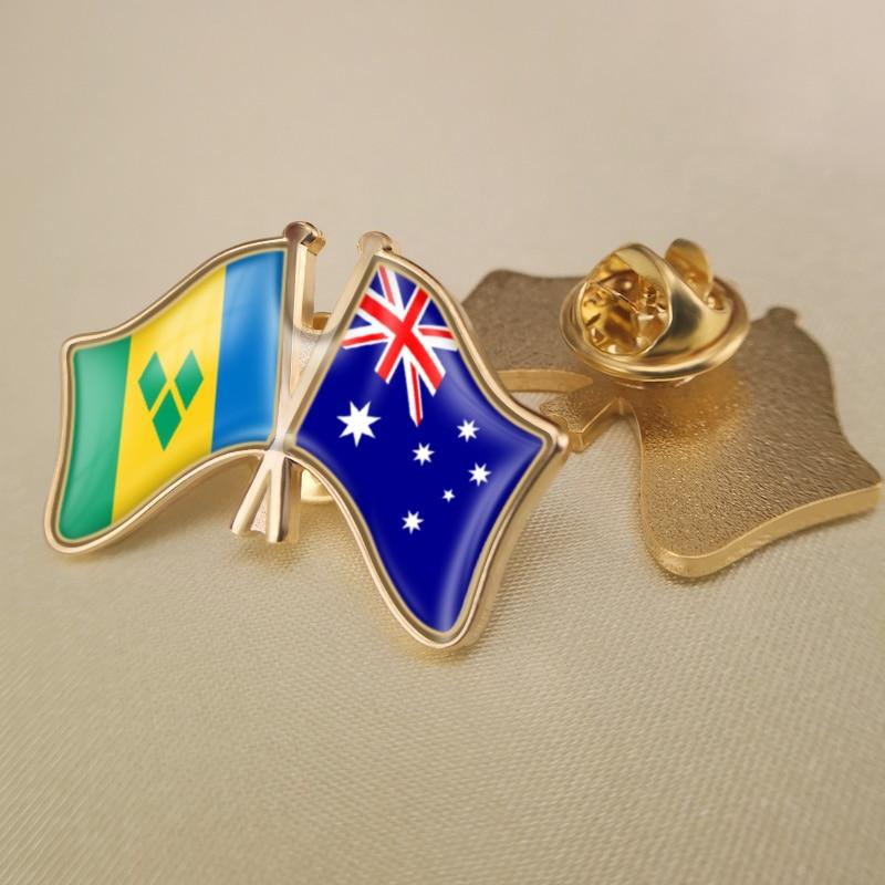 Saint Vincent y las Granadinas y Australia cruzados/doble/banderas de la Amistad solapa...