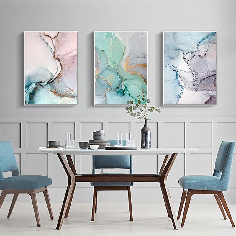 Pintura abstracta en lienzo de mármol de ágata geométrico, carteles nórdicos e impresiones, imágenes artísticas de pared para sala de estar, decoración moderna para el hogar