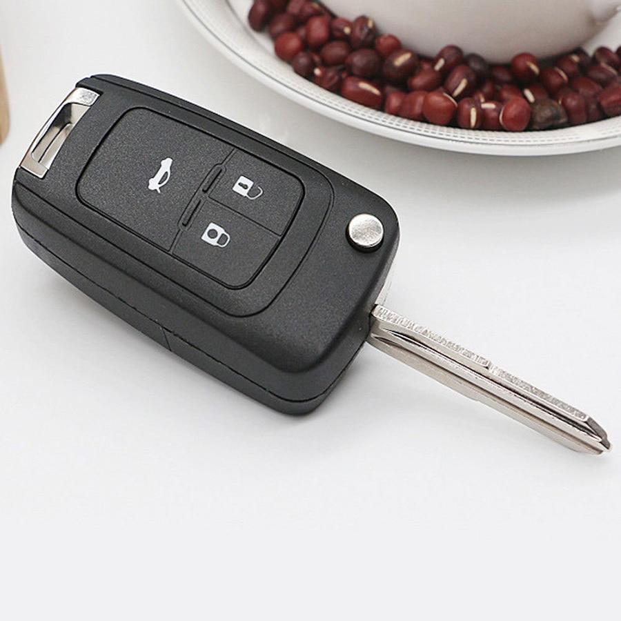 Carcasa de llave a distancia de coche plegable con 3 botones para Chevrolet Camaro Cruze equinoccio Malibú Spark Sonic, carcasa para llave de coche sin cortar