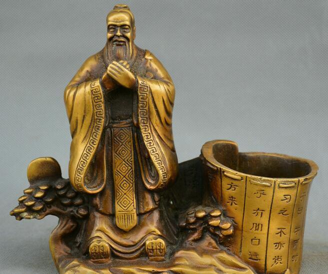 Китайский Фэншуй старая бронза Конфуцианская статуя Конфуция кисть горшок карандаш ваза