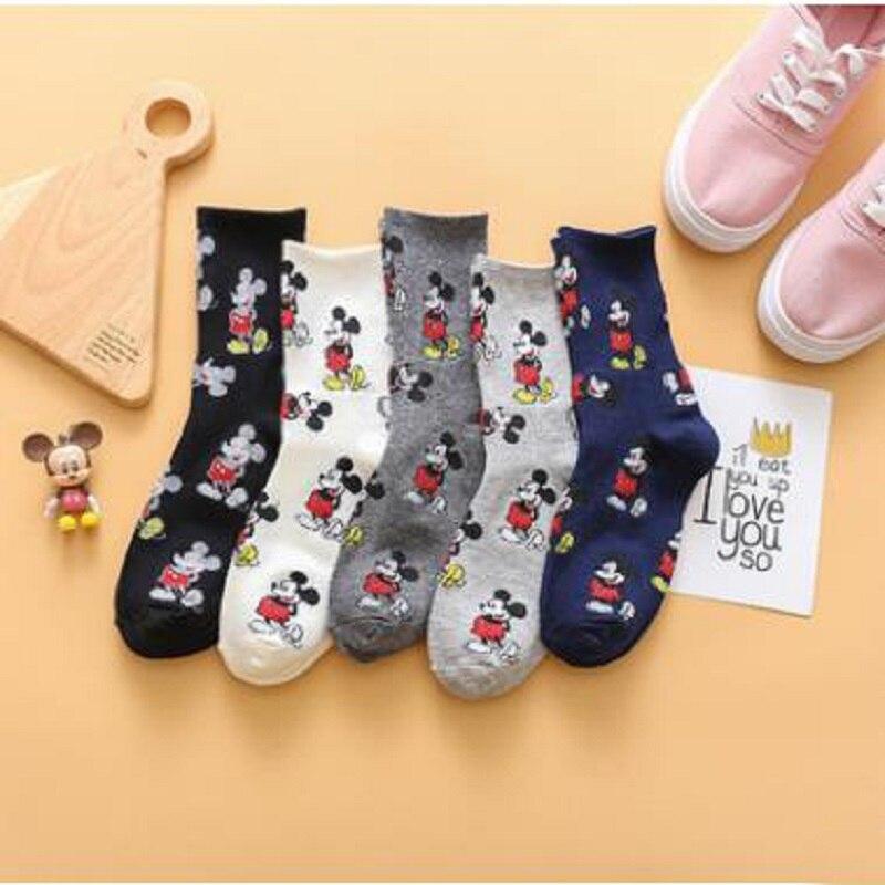 20 piezas = 10 pares 35, 36, 37,38, 39 calcetines de algodón de dibujos animados para mujer, calcetines divertidos para chica feliz, regalo