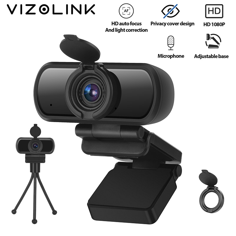 VizoLink Privacy Cover Webcam Real 1080P 200W Pixels Full Hd 110° Wide Angle Camera with Microphone Tripod for Video Conference spedal 120° wide angle webcam full hd 1080p with tripod usb camera video conference for computer mac pc