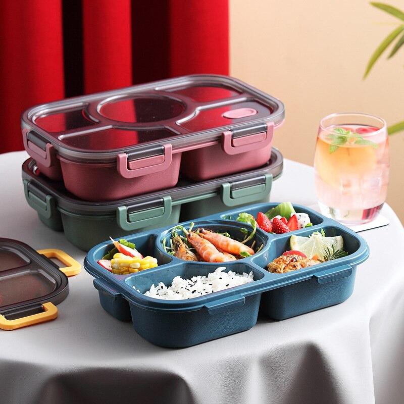 SHZQ بينتو صندوق النمط الياباني الغذاء الحاويات تخزين علب الاغذية للأطفال مع وعاء حساء اليابانية اقفاص الوجبات الخفيفة معزول الغداء تحتوي