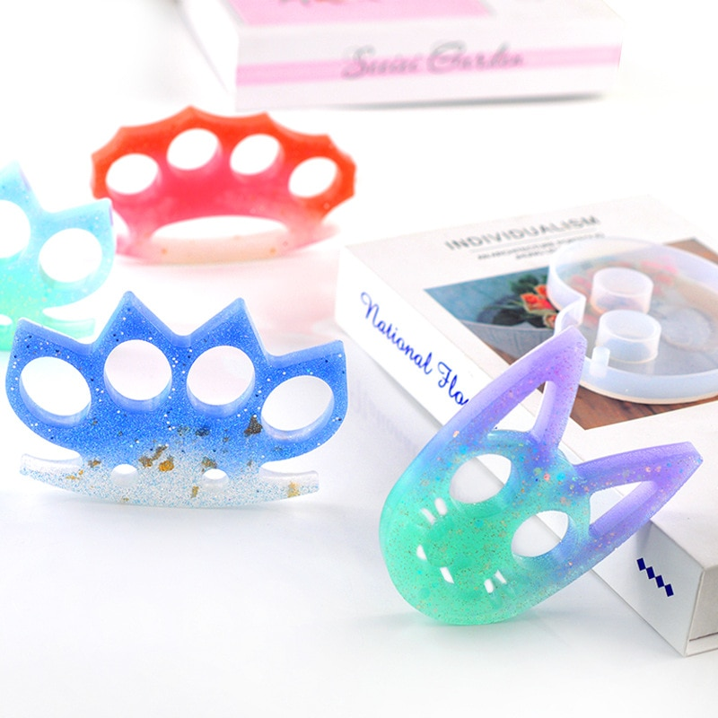 Cat Head Transparent Silicone Mould For Keychain Making Finger Cots Self Defense Epoxy Resin Mold Casting DIY Handmade Supplies
