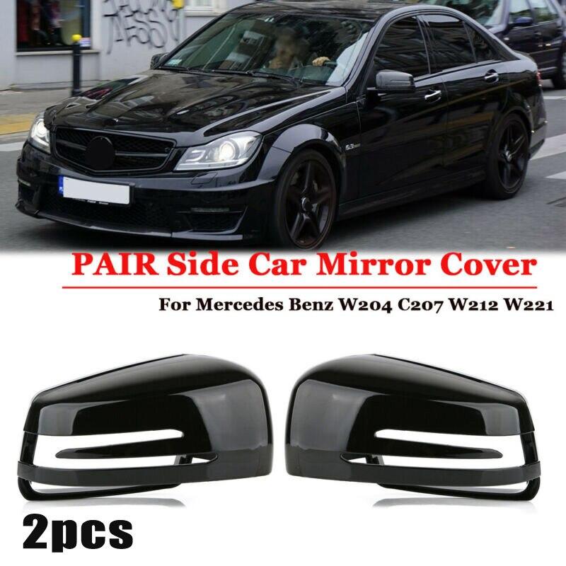 1 par tampa do espelho lateral do carro esquerda direita preto para forbmw e60 para ford focus mk3
