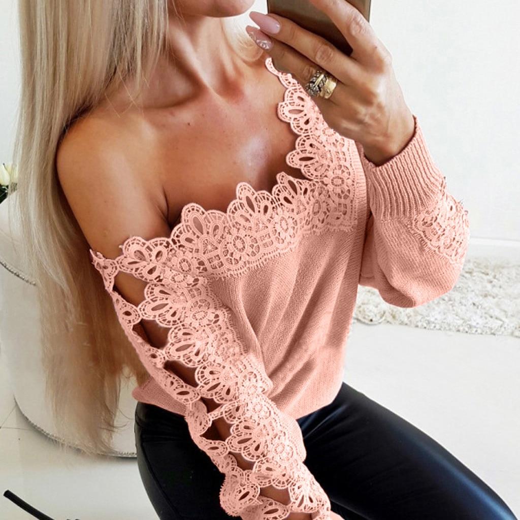 Hohe Qualität Koreanischen Stil Pullover Frauen Solide Aushöhlen Lange Ärmeln Off-Schulter Kawaii Tops Pull Femme Pullover jumper 2020