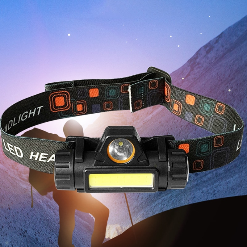 Linterna frontal portátil Mini XPE + COB LED con carga USB, linterna para pesca, Camping, senderismo, pesca nocturna, herramientas de exterior