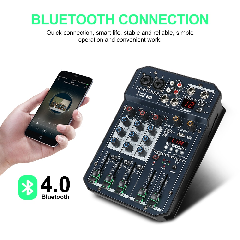 XTUGA 4/6 Channels Mixer Audio Built-In Sound Card Digital DJ Mixer with 16 DSP Effect,Bluetooth,USB,for DJ PC Recording,Singing enlarge