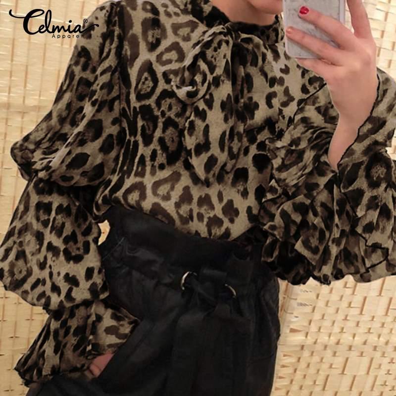Celmia vintage leopardo impressão chiffon blusa feminina manga longa alargamento sexy ver através sheer camisa gravata borboleta casual topo festa blusas