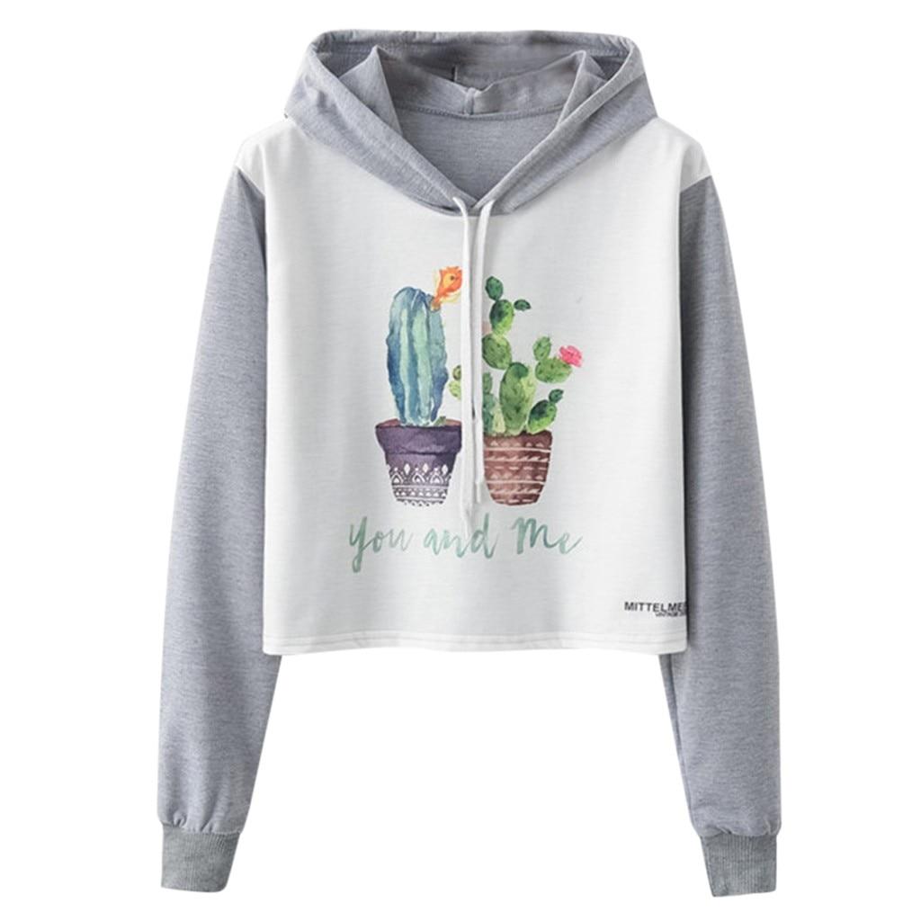 Blusa de otoño para mujer sudadera holgada con cuello redondo con estampado de Cactus manga larga corta con HatPullover primavera señoras niñas 802