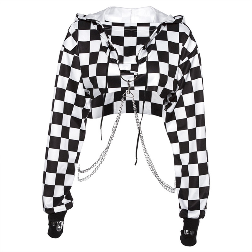 Женская Повседневная Толстовка в клетку, укороченный топ с цепочкой, пуловер, короткий Свободный свитшот, клетчатая рубашка, уличная одежда...