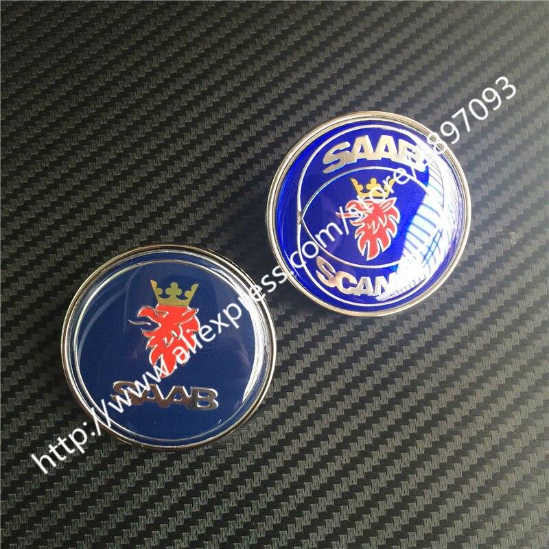 2 uds 50mm nuevo diseño de coche SAAB SCANIA azul insignia con gorro frontal emblema Auto Logo 2 pines 5289871 4522884