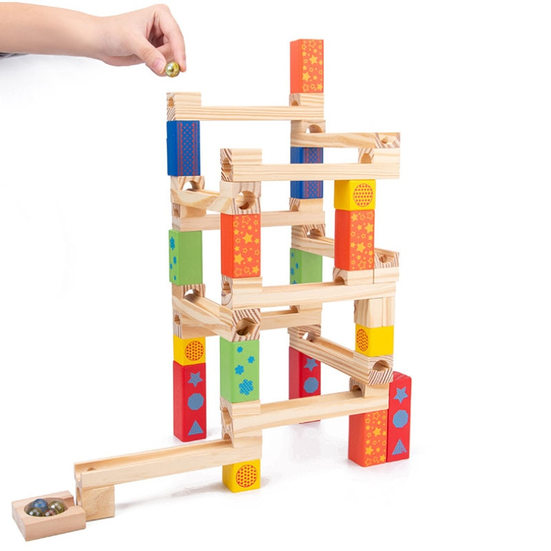 52PC Wooden Marble Track Blocks Children's Educational Assembled DIY Building Blocks Pipe Ball Toy K