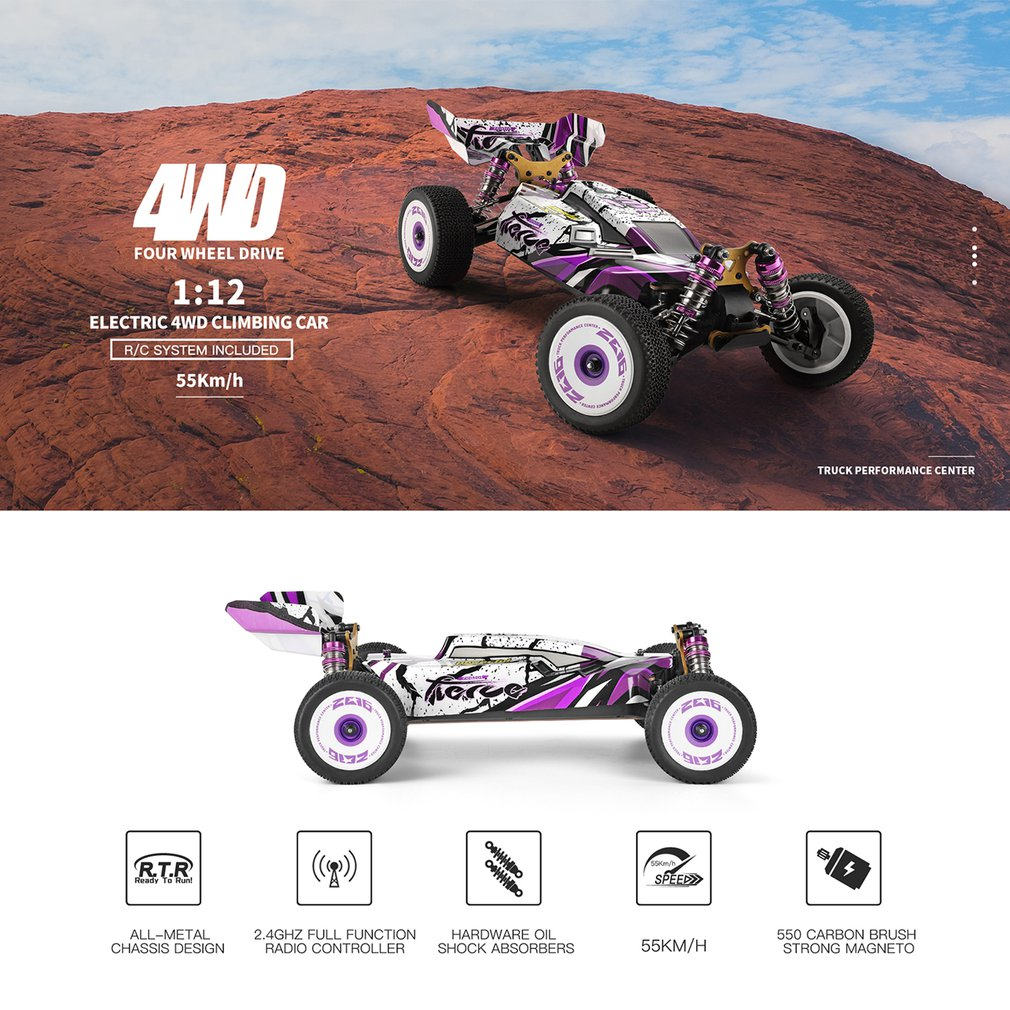 WLtoys New 2.4G Racing RC Car 60 Km/h Metal Chassis 4wd Road Drift Electric RC Cars Remote Control Toys For Adults Kids 124019 enlarge