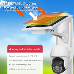YN90 Solar Motion Sensor Pan Tilt Security Camera Audio 2MP Security CCTV Cameras 2MP Outdoor WiFi IP Camera