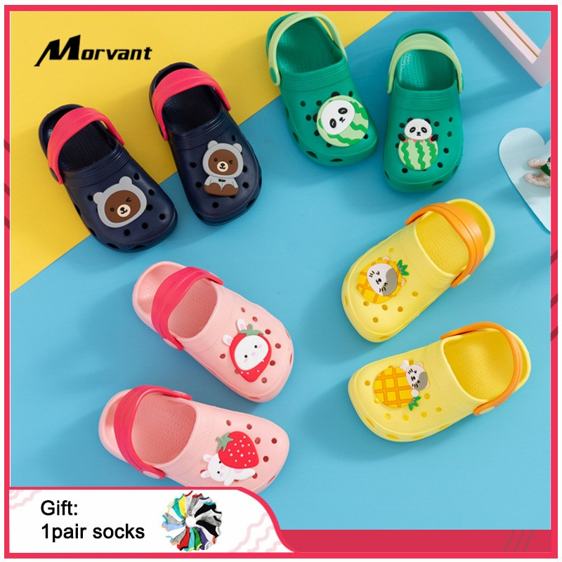 Baby slippers Cartoon Bear Baby Garden Shoes Soft non-slip Infant Shoes Summer Breathable Hole Indoor toddler Foot Footwear