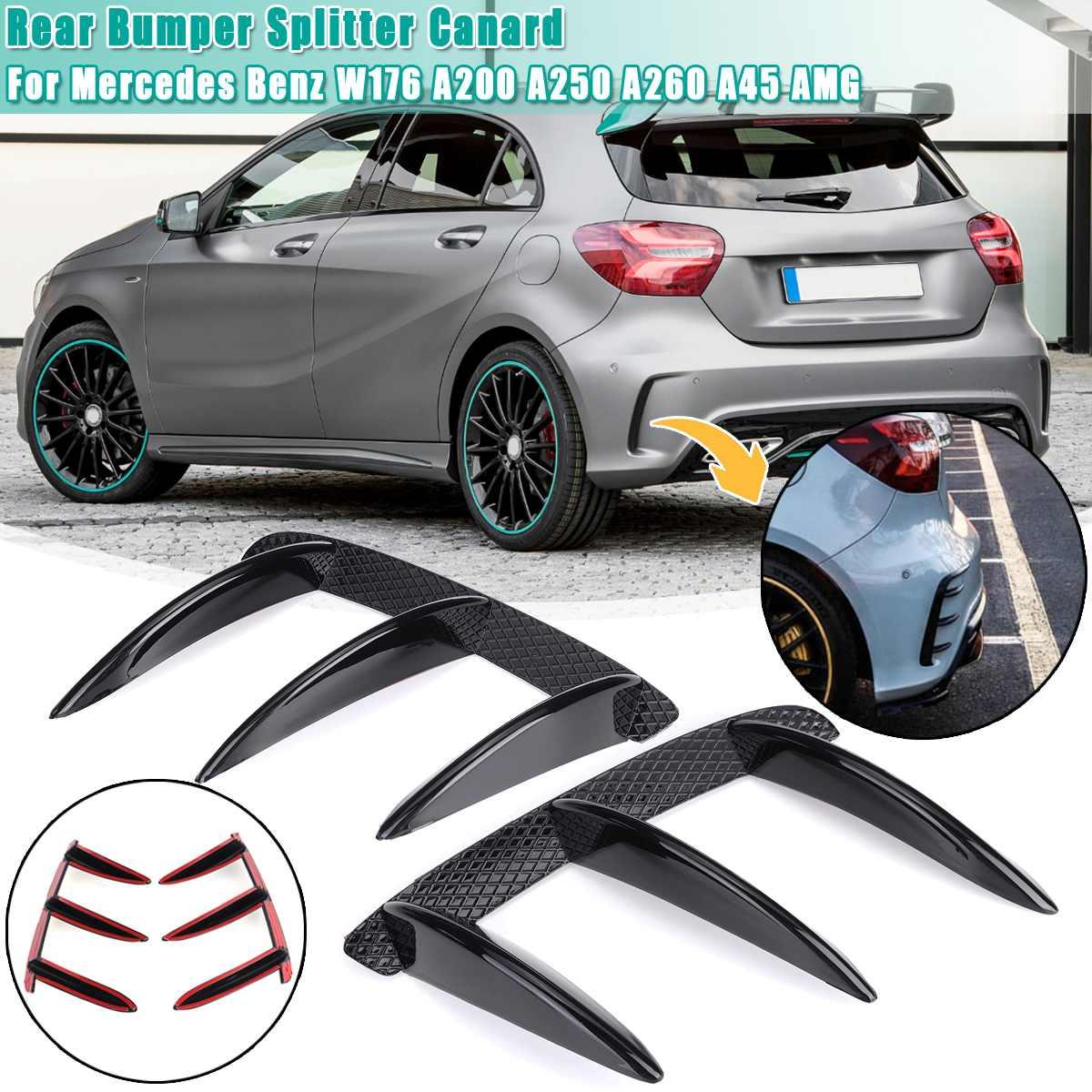 Coche ABS negro alerón para parachoques trasero Canards para Mercedes Benz para W176 A200 A250 A260 A45 para AMG 2 uds accesorios de repuesto