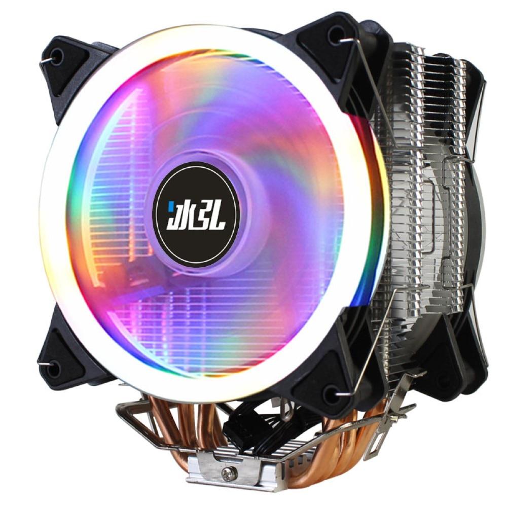 Binghk وحدة المعالجة المركزية برودة 4PIN PWM LED 4 أنبوب نحاسي منخفض الضوضاء وحدة المعالجة المركزية مروحة تبريد مزدوجة للوحة الأم AMD LGA775/115X/1366