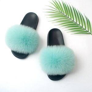 2020 Summer Women Furry Slides Cute Fox Fur Slide Home Slippers Fluffy Sandals Fury Platform Fuzzy Shoes Indoor Sandalias Mujer