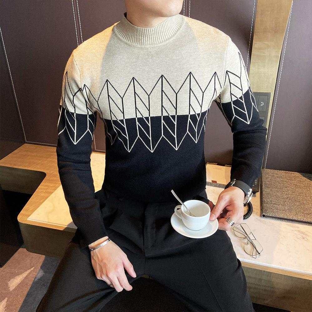 Фото - Trend Stitching Color Fashion Sweater Herren Pullover Winter Korean Slim Sweater Men Casual Half High Collar Knitted Sweater Men fall winter sweater men thickened korean fashion personality sweater lazy pullover sweater coat