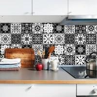 Autocollant de sol noir et blanc mat  Film adhesif de decoration pour carreaux sol de cuisine salle de bains antiderapant