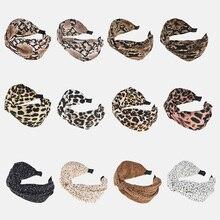 Mode dame large moucheté bandeau Turban imprimé léopard tissu croix bandeau femmes cheveux cerceau bandes fille cheveux accessoires