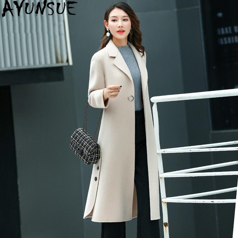 AYUNSUE-abrigo de lana auténtica para mujer, ropa de mujer, abrigo de lana...