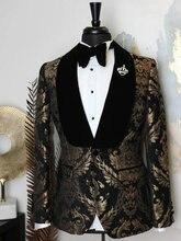 2020 élégant marque noir or fleurs hommes costumes avec pantalon marié costume fumer Smoking veste costumes de mariage pour hommes meilleur homme Blazer