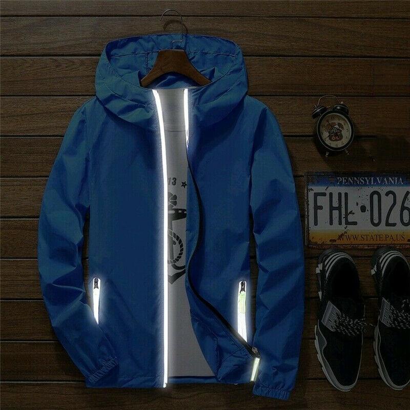 Men Waterproof Wind Breaker Coat Zipper Hoodie Jacket Quick Drying Sport Outwear EIG88