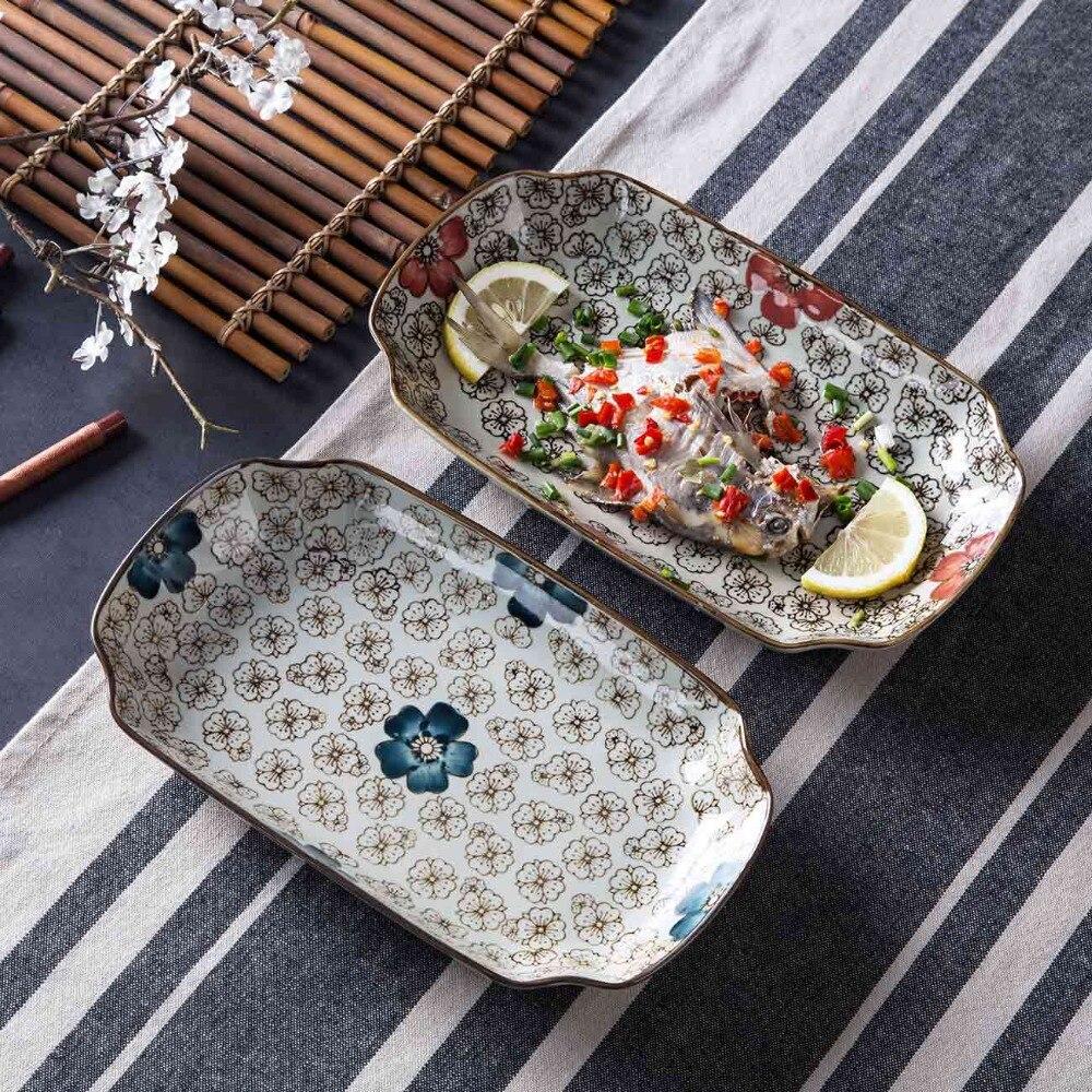 Estilo japonês pintados à mão placa de cerâmica retângulo jantar placa criativa utensílios de mesa cerâmica bandeja frutas placa peixe