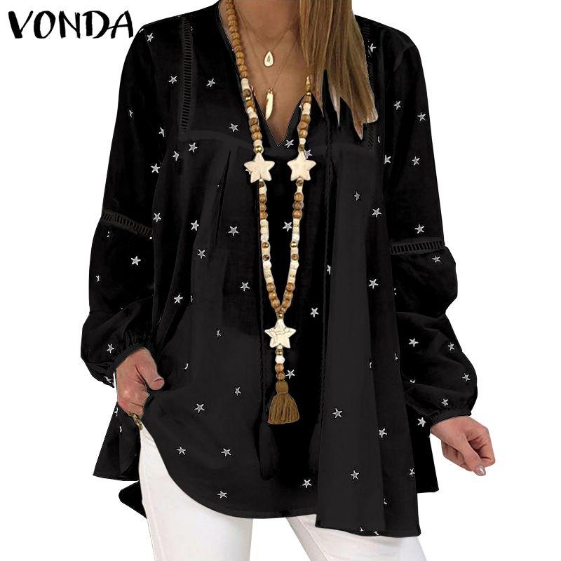 VONDA, blusa holgada estampada de talla grande para mujer, camisetas de Otoño de manga larga con cuello en V, Tops informales para playa, Blusas bohemias