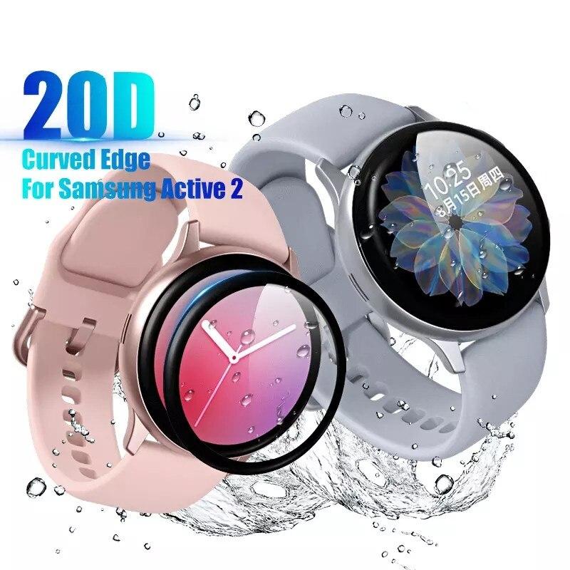 Закаленное стекло с изогнутыми краями для смарт-часов Samsung Watch Active 2, 44 мм, 40 мм, защита экрана, Защитная мягкая пленка, полное покрытие