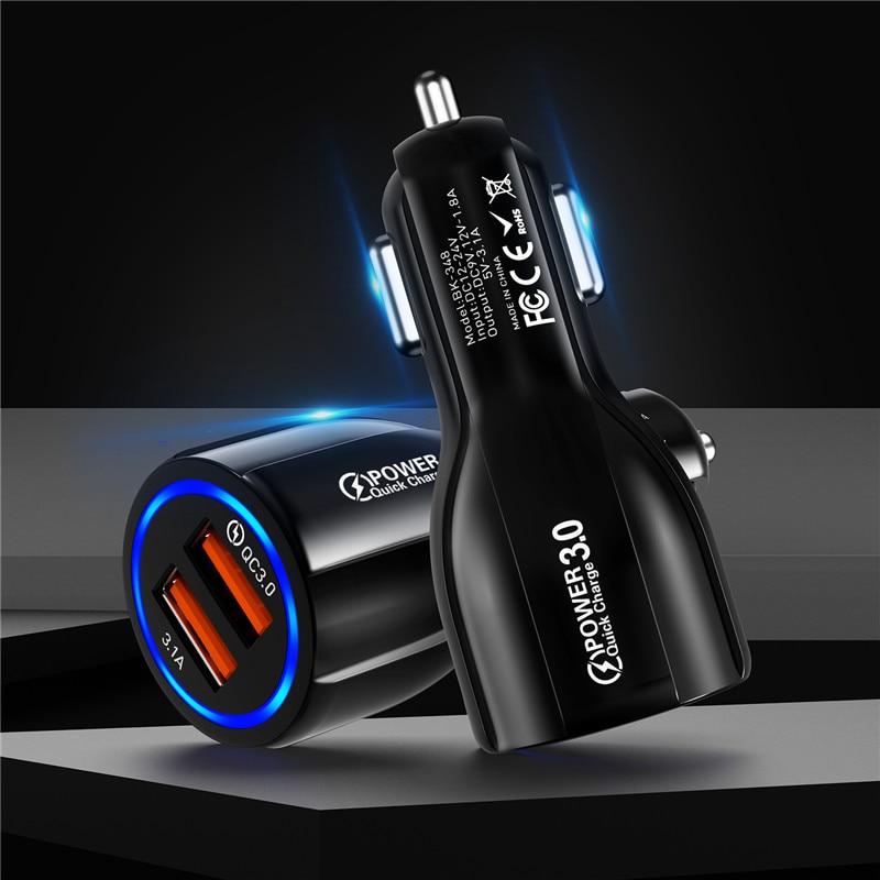 30W 3A Schnelle USB Auto Ladegerät Schnell Ladung 3,0 USB Ladegerät Für iphone 11 pro max Redmi hinweis 8 pro7 samsung Handy Auto Ladegerät Dual
