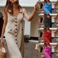 2021v neck single breasted buttoned dress pocket design large size multicolor