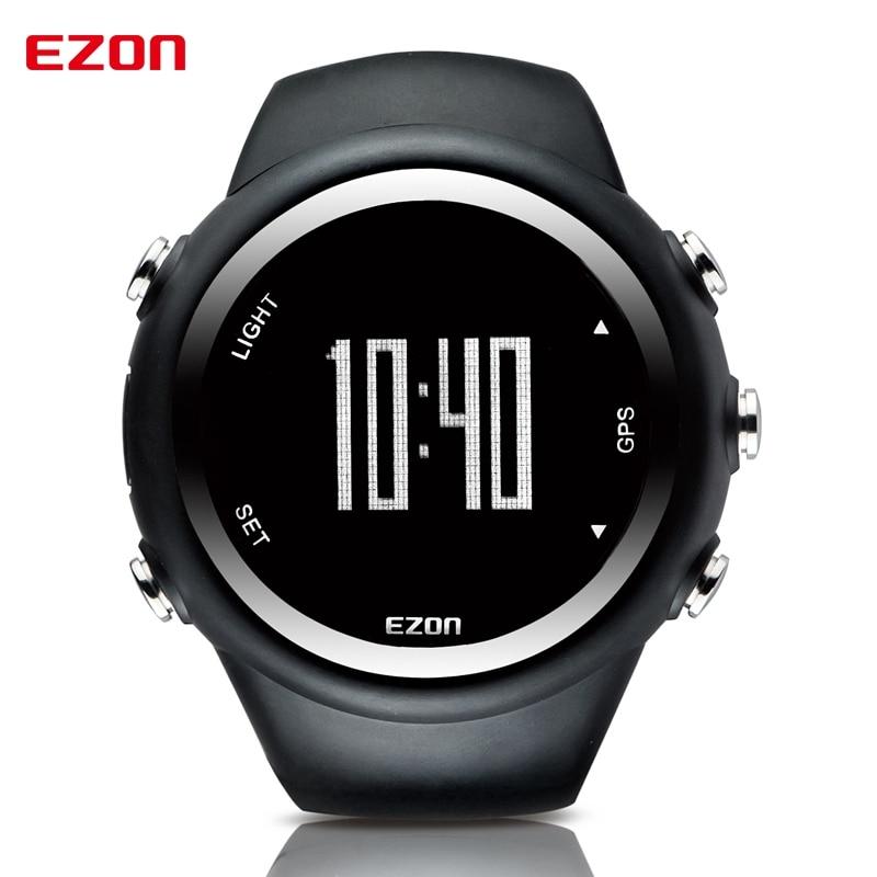 Mens Digital Sport Wristwatch GPS Running Watch With Speed Pace Distance Calorie Burning  Stopwatch 50M Waterproof EZON T031