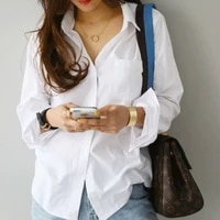 women blouses shirts ol style 2021 summer new feminine long sleeve blouse top casual white turn down collar women loose blouses