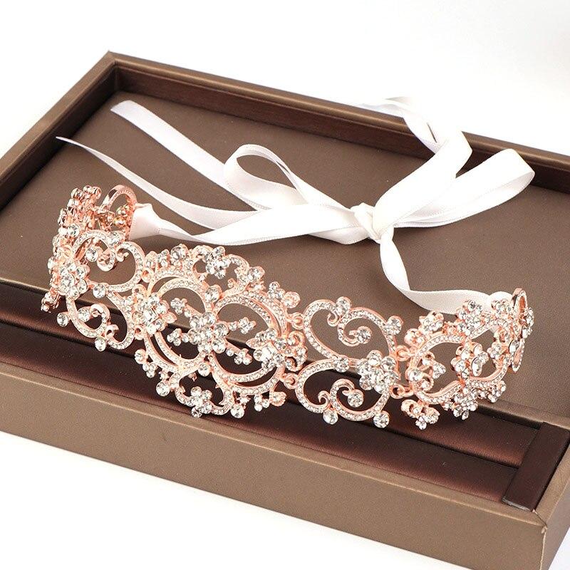 FORSEVEN, accesorios de joyas para el pelo de novia de lujo, diadema para mujeres, diadema de oro rosa, diadema ajustable de aleación de tamaño JL