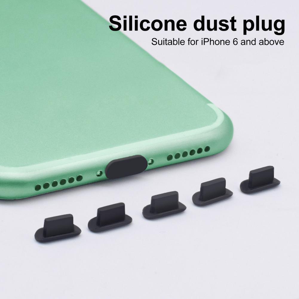 5pcs Dustproof Cover Cap Jack Charger Plug USB Port Anti-dust plug For Mobile Phone iPhone 5S AirPod