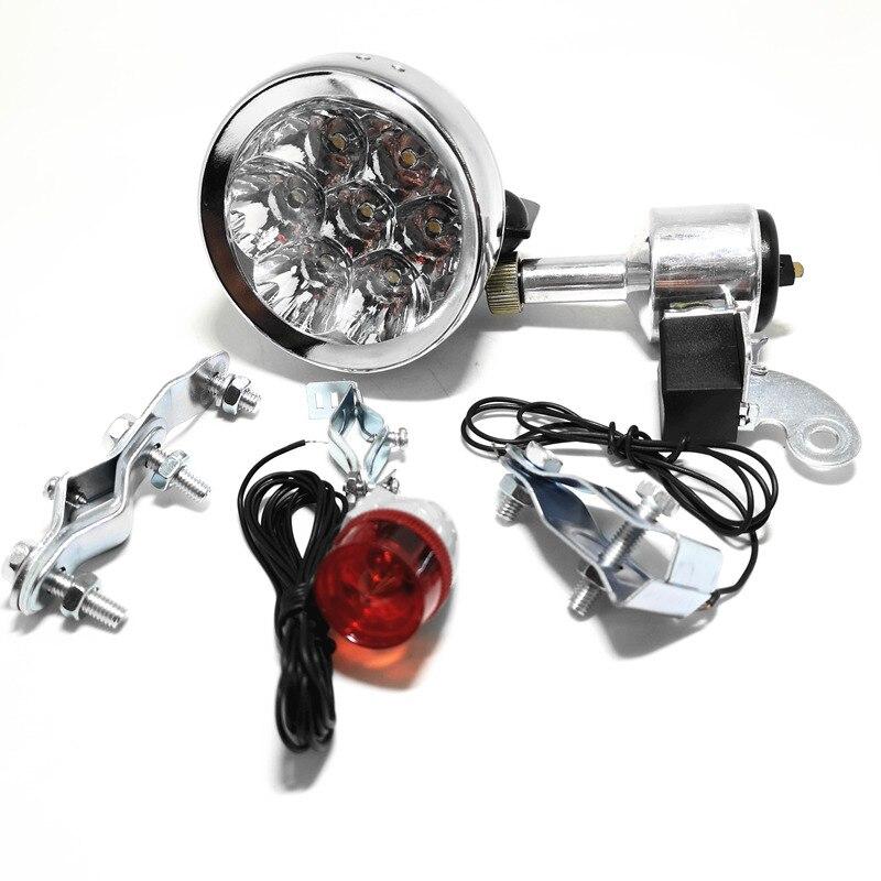 Bicicleta luzes led motorizado kit farol da lanterna traseira da bicicleta gerador de fricção dínamo cabeça da bicicleta luz da cauda lâmpada led mtb retro