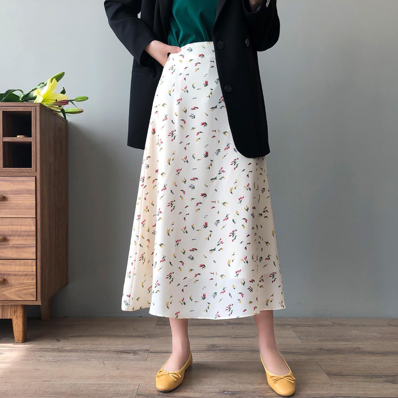 CMAZ Woman Skirt 2021 Summer New Korean Ins Fashion Temperament Gentle Vintage Floral Versatile High
